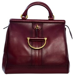 Gucci Burgundy Smooth Leather Duilio Horsebit Top Handle rt $2,800