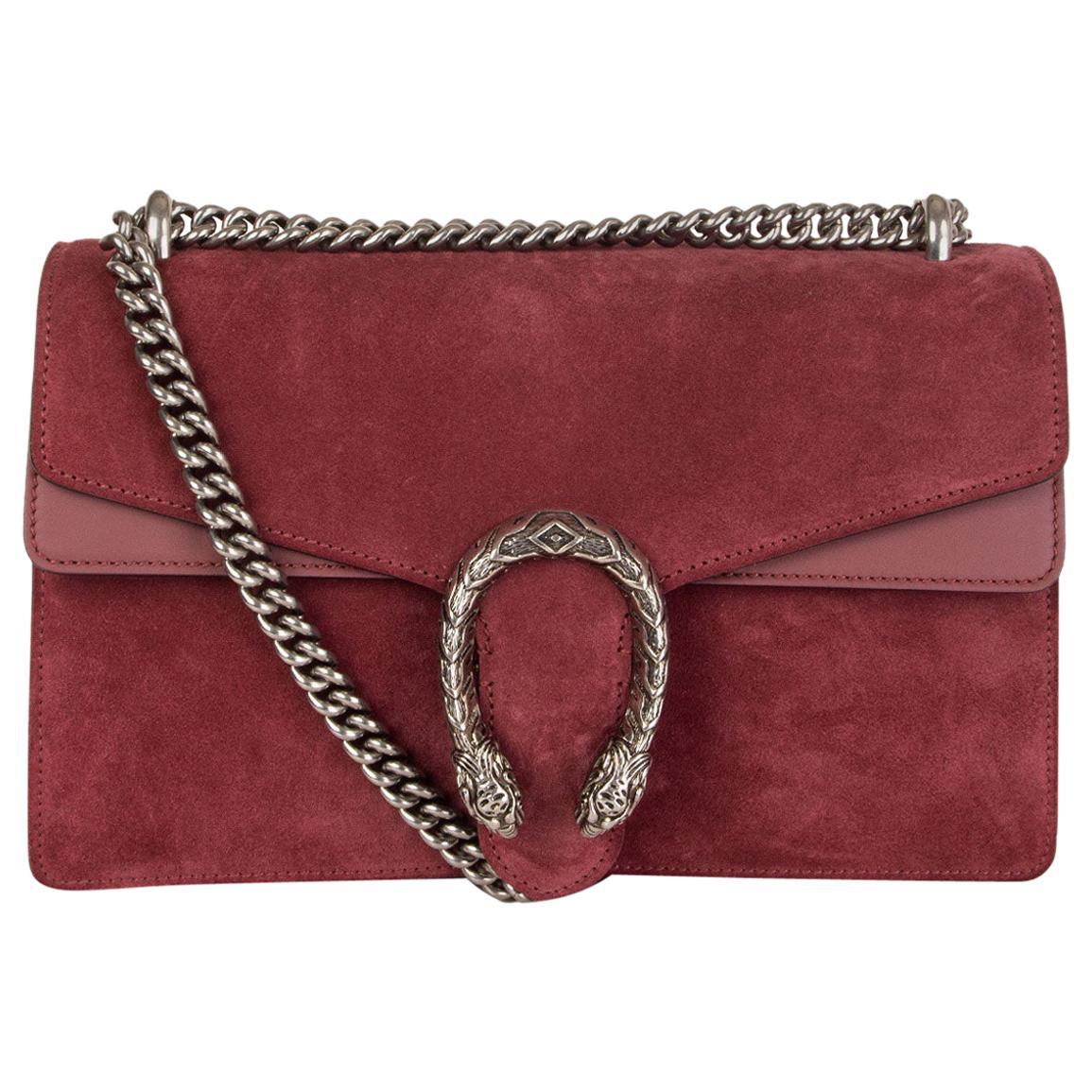 GUCCI burgundy suede DIONYSUS SMALL Shoulder Bag