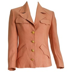 GUCCI burnt pink, drawing of the sun on the buttons, silk jacket - Unworn, New