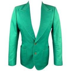 GUCCI by Alessandro Michele Size 36 Green Cotton Peak Lapel Sport Coat