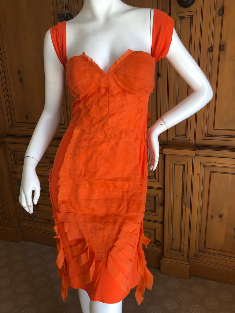 Gucci by Tom Ford 2004 Orange Ribbon Dress Tom Ford Book Piece  1