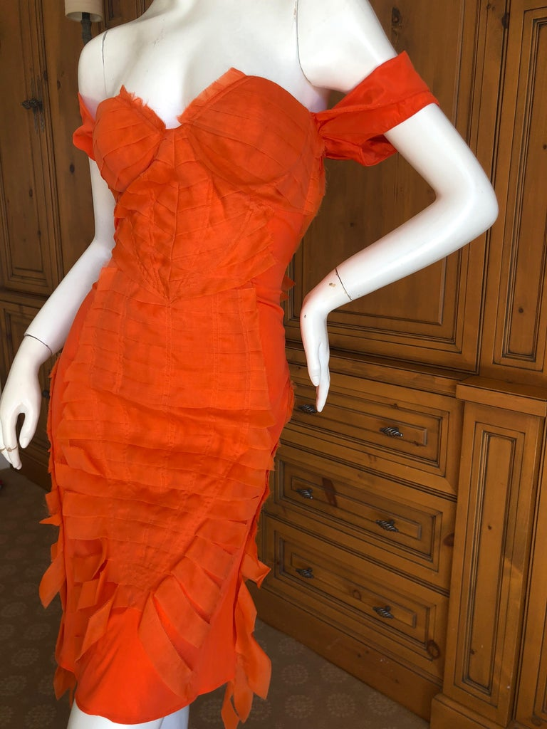 Gucci by Tom Ford 2004 Orange Ribbon Dress Tom Ford Book Piece  2