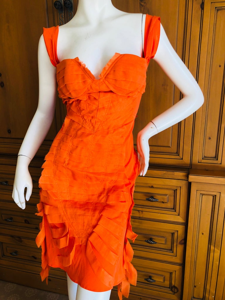 Gucci by Tom Ford 2004 Orange Ribbon Dress Tom Ford Book Piece  4