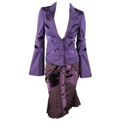 GUCCI by TOM FORD 4 Purple Silk Velvet Fall 2004 Final Collection Skirt Suit