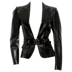 Gucci by Tom Ford Black Corset Belted Leather Jacket