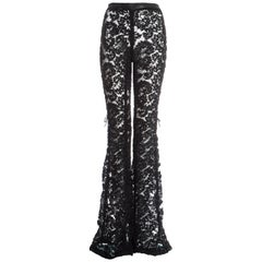 Gucci by Tom Ford black embroidered lace and mesh flared evening pants, fw 1999