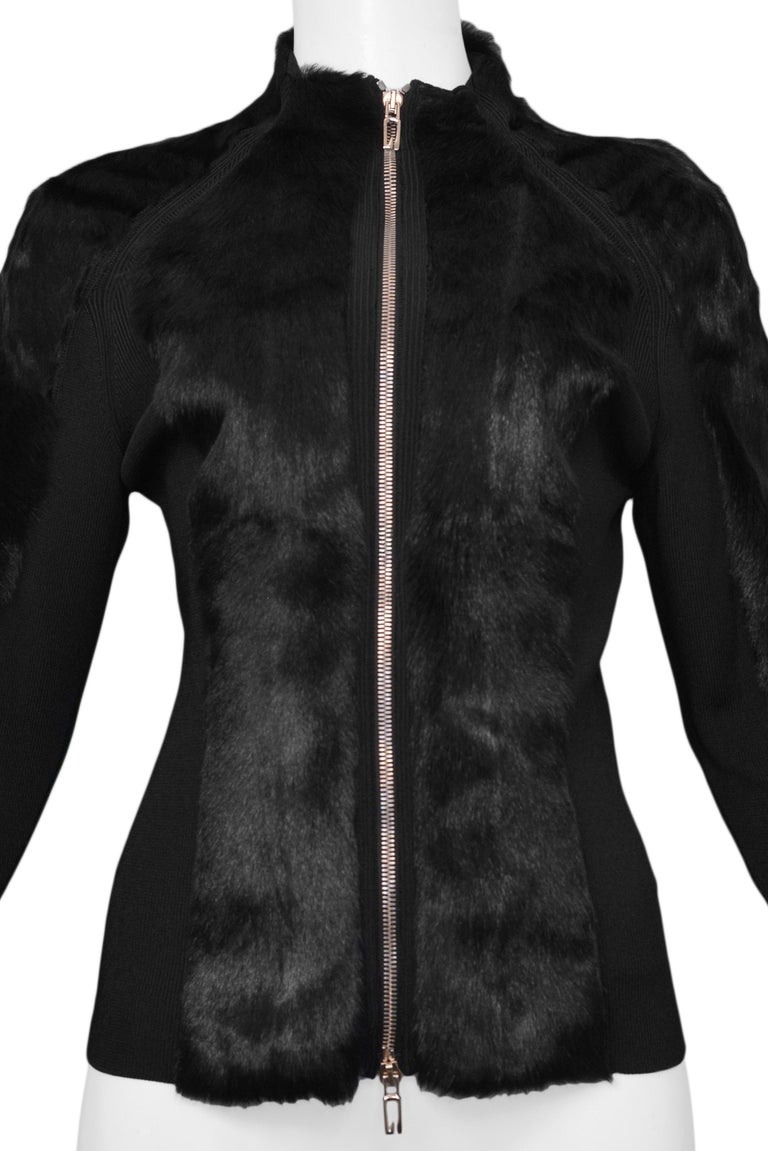 Gucci by Tom Ford Black Fur & Knit Cardigan circa 1999 In Good Condition For Sale In Los Angeles, CA