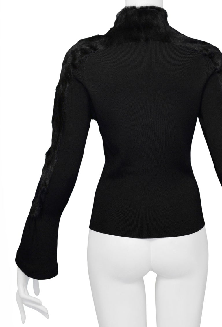Women's Gucci by Tom Ford Black Fur & Knit Cardigan circa 1999 For Sale