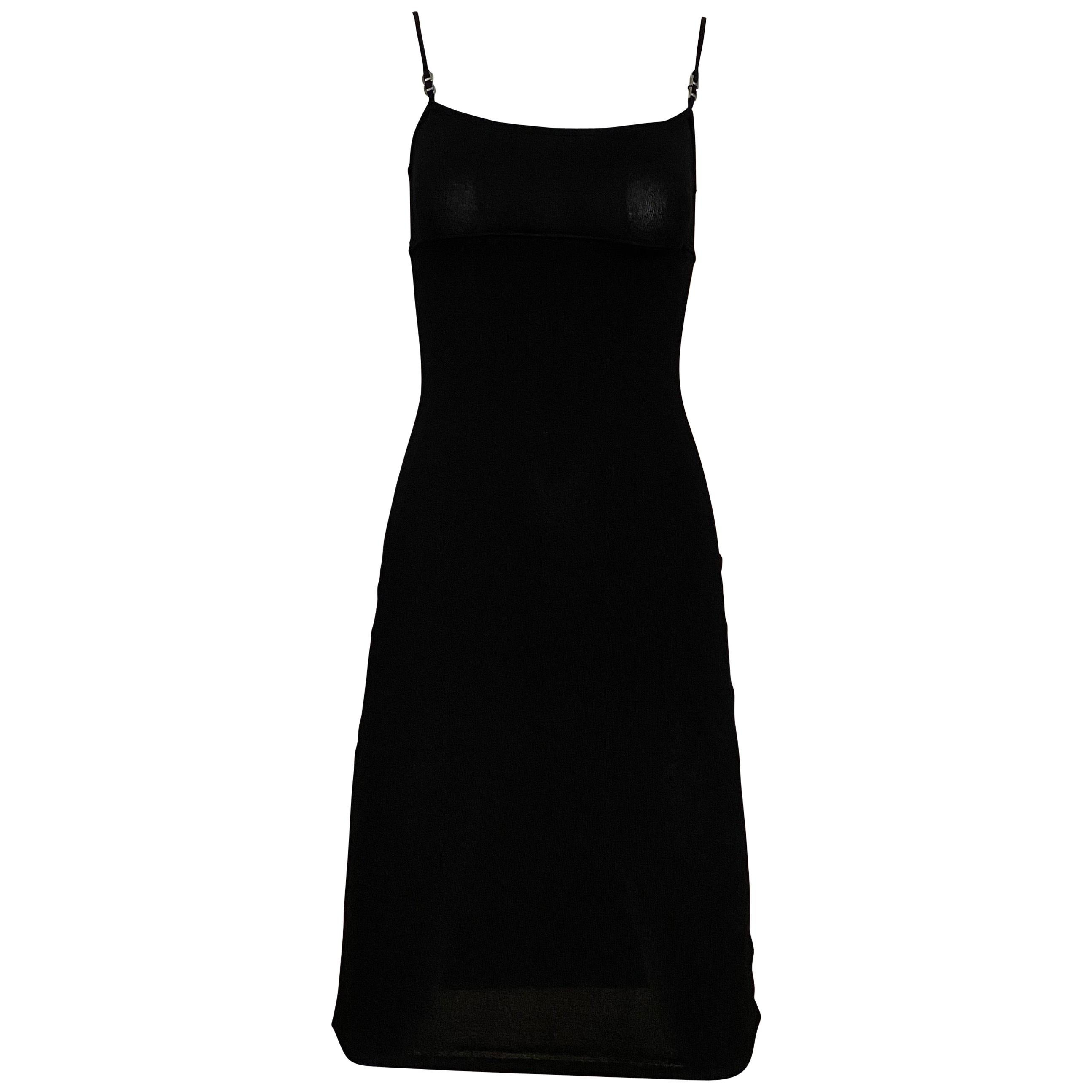 Gucci by Tom Ford Black Knit fitted Spaghetti Strap Dress
