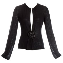 Gucci by Tom Ford black knitted evening blouse with leather rose, fw 1999
