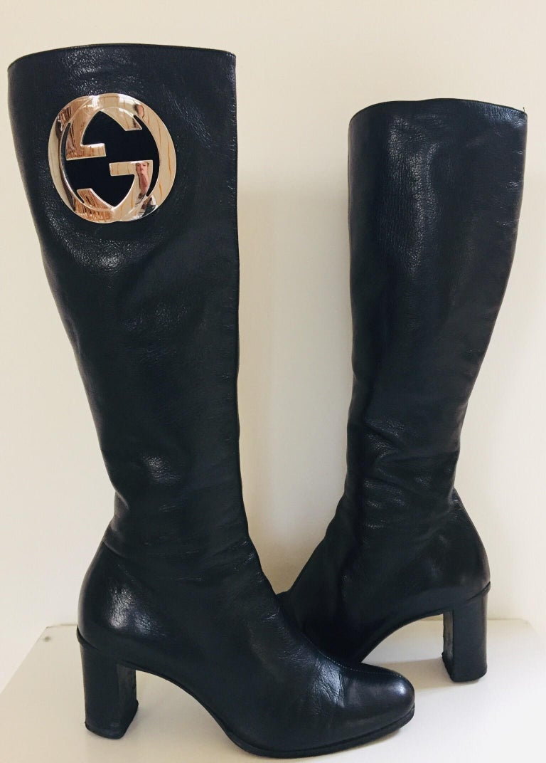 Gucci by Tom Ford Black Leather Boots In Good Condition For Sale In North Hollywood, CA