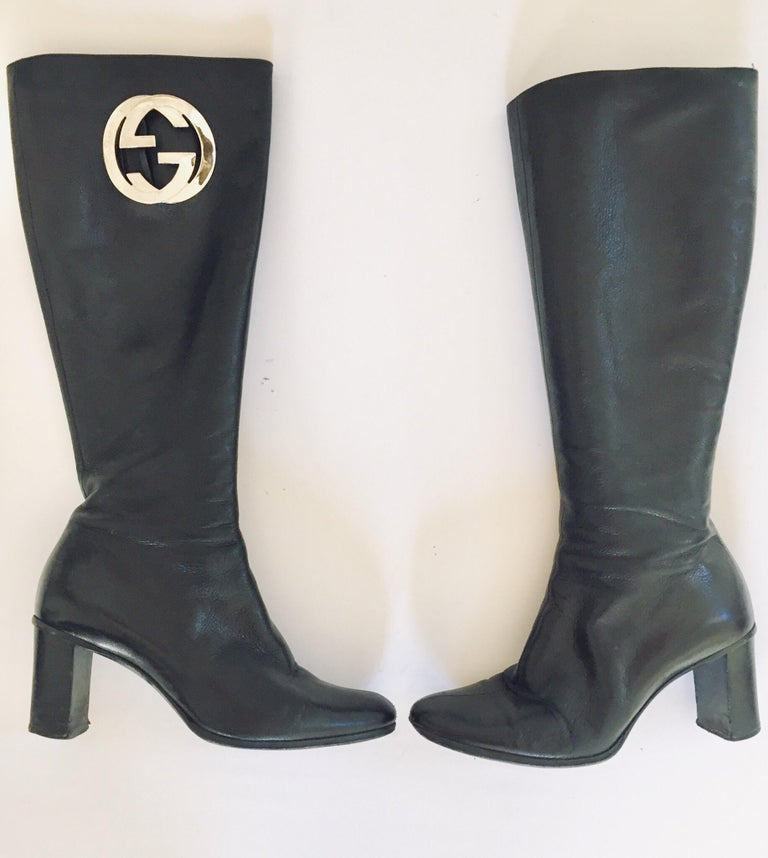 20th Century Gucci by Tom Ford Black Leather Boots For Sale