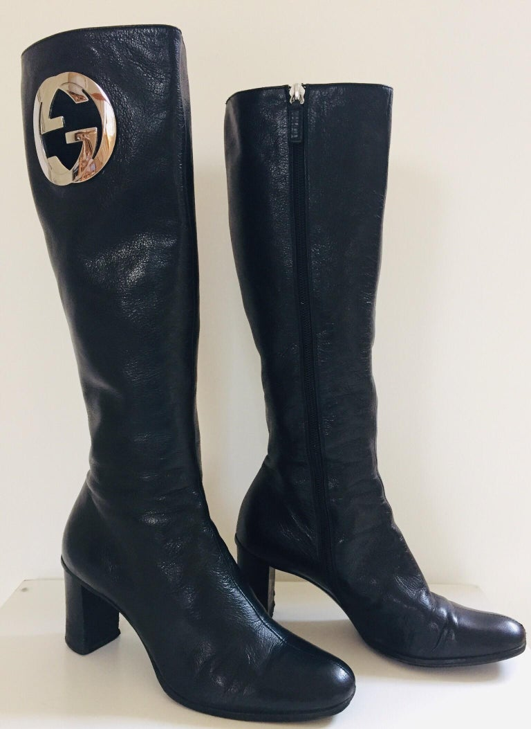 Gucci by Tom Ford Black Leather Boots For Sale 1