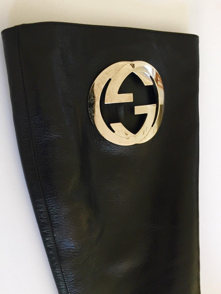 Gucci by Tom Ford Black Leather Boots For Sale 3