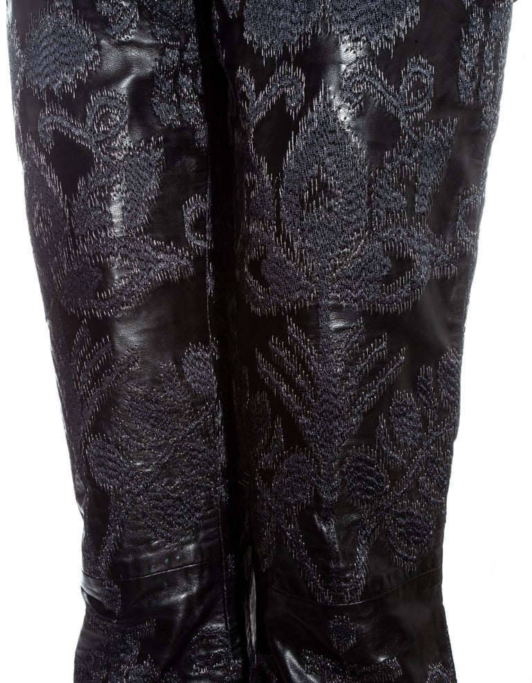 Black Gucci by Tom Ford black leather embroidered jacquard pants, ss 2000 For Sale