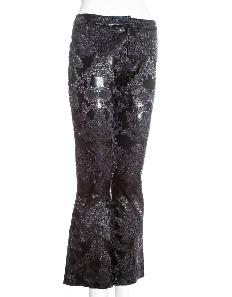 Gucci by Tom Ford black leather embroidered jacquard pants, ss 2000 In Excellent Condition For Sale In London, GB