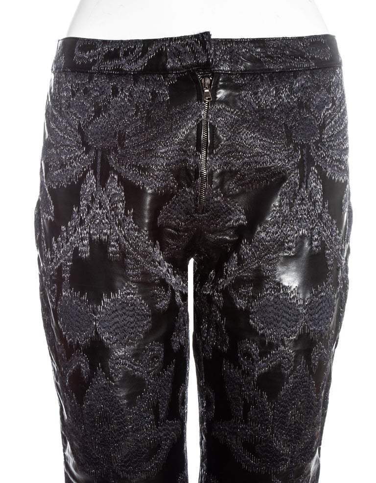 Women's Gucci by Tom Ford black leather embroidered jacquard pants, ss 2000 For Sale