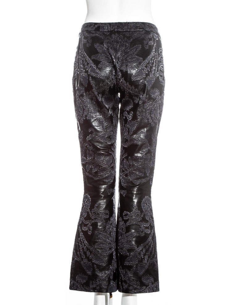Gucci by Tom Ford black leather embroidered jacquard pants, ss 2000 For Sale 2