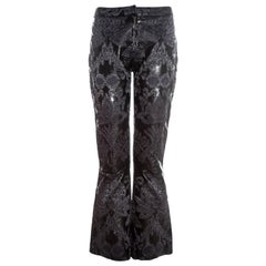 Gucci by Tom Ford black leather embroidered jacquard pants, ss 2000