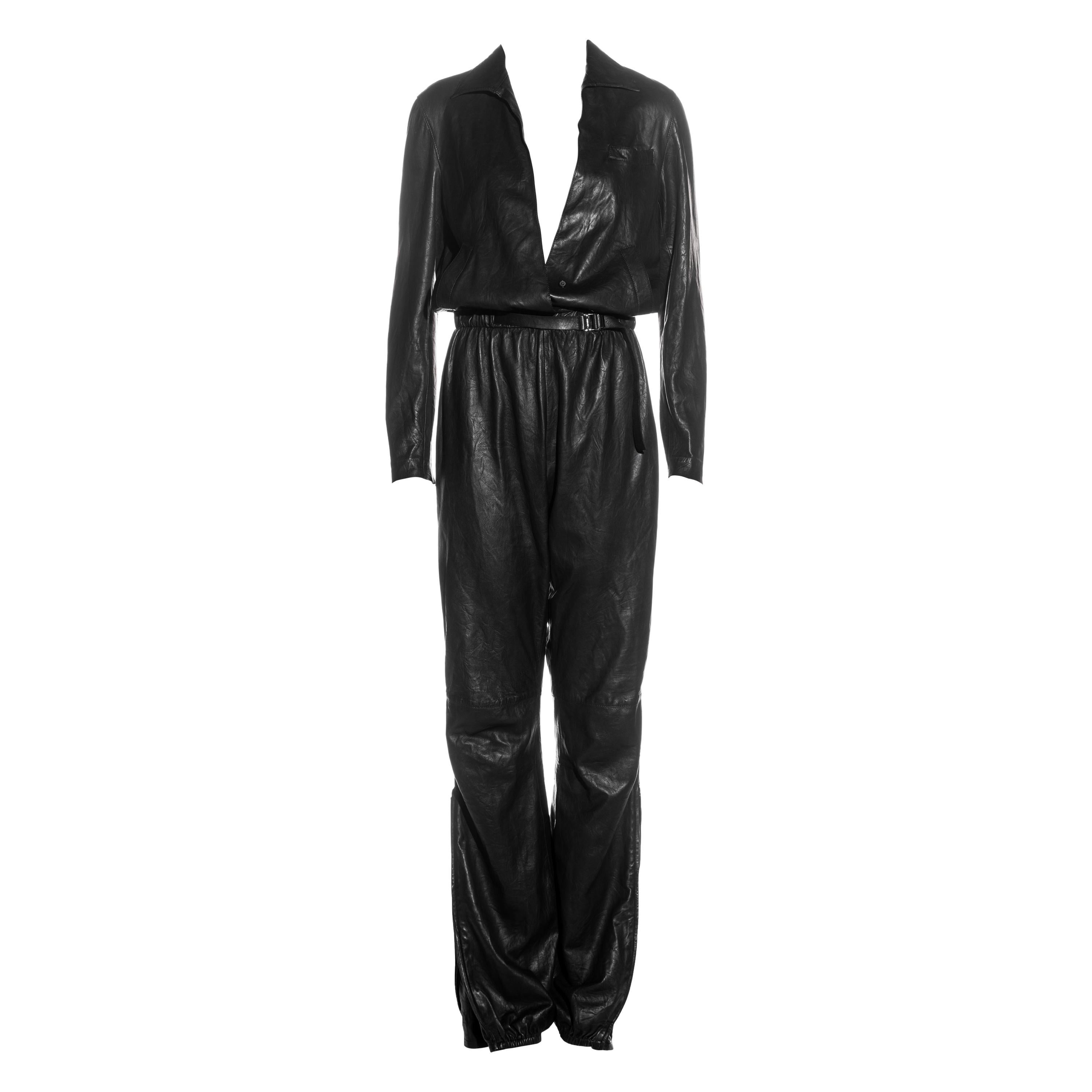 Gucci by Tom Ford black leather jumpsuit, ss 2000