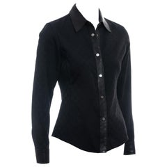 Gucci by Tom Ford black monogram canvas and leather fitted shirt, fw 2000