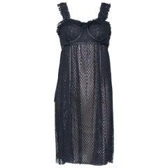 UNWORN Gucci by Tom Ford Black & Nude Mesh Corset Silk Evening Dress
