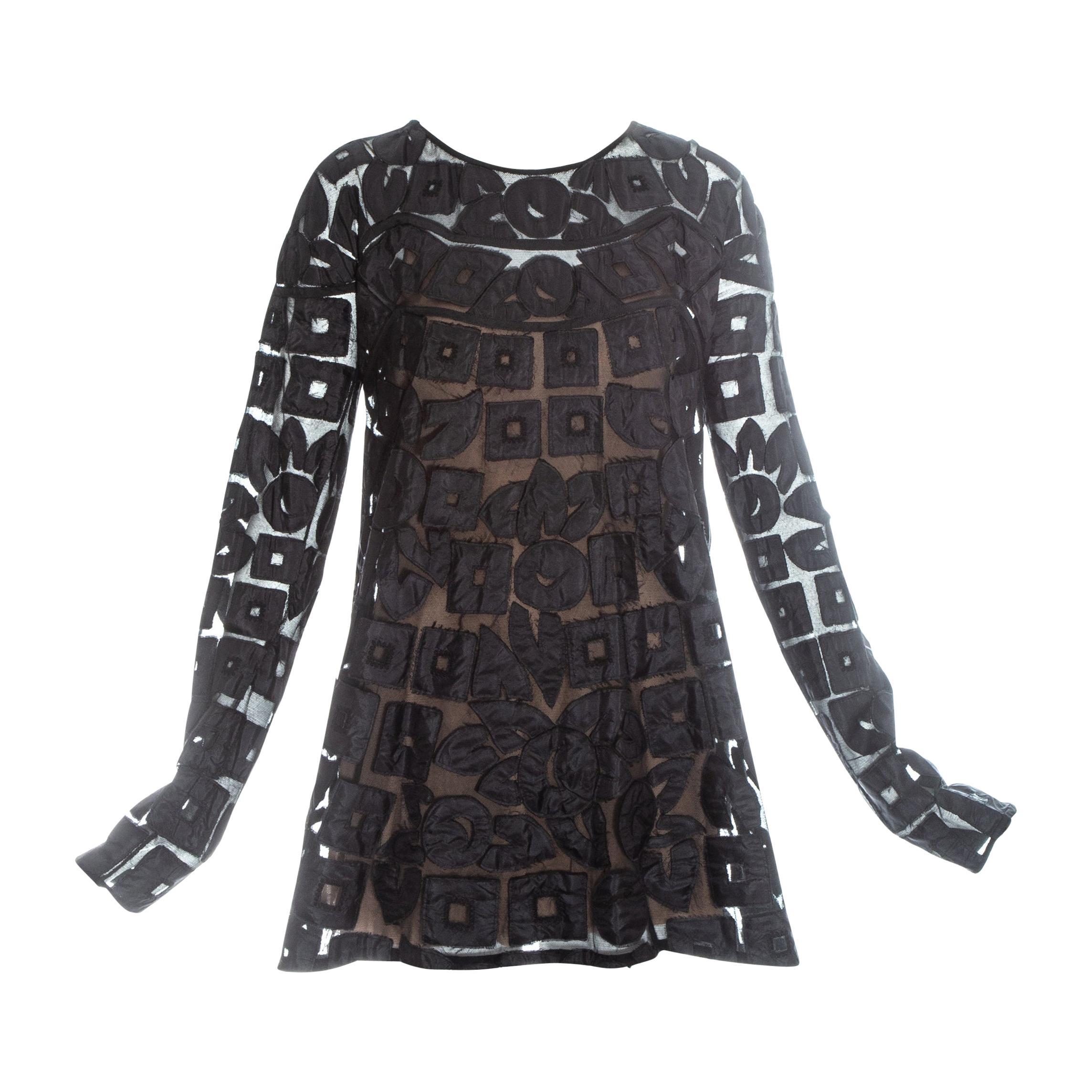 Gucci by Tom Ford black silk babydoll mini dress, fw 2001