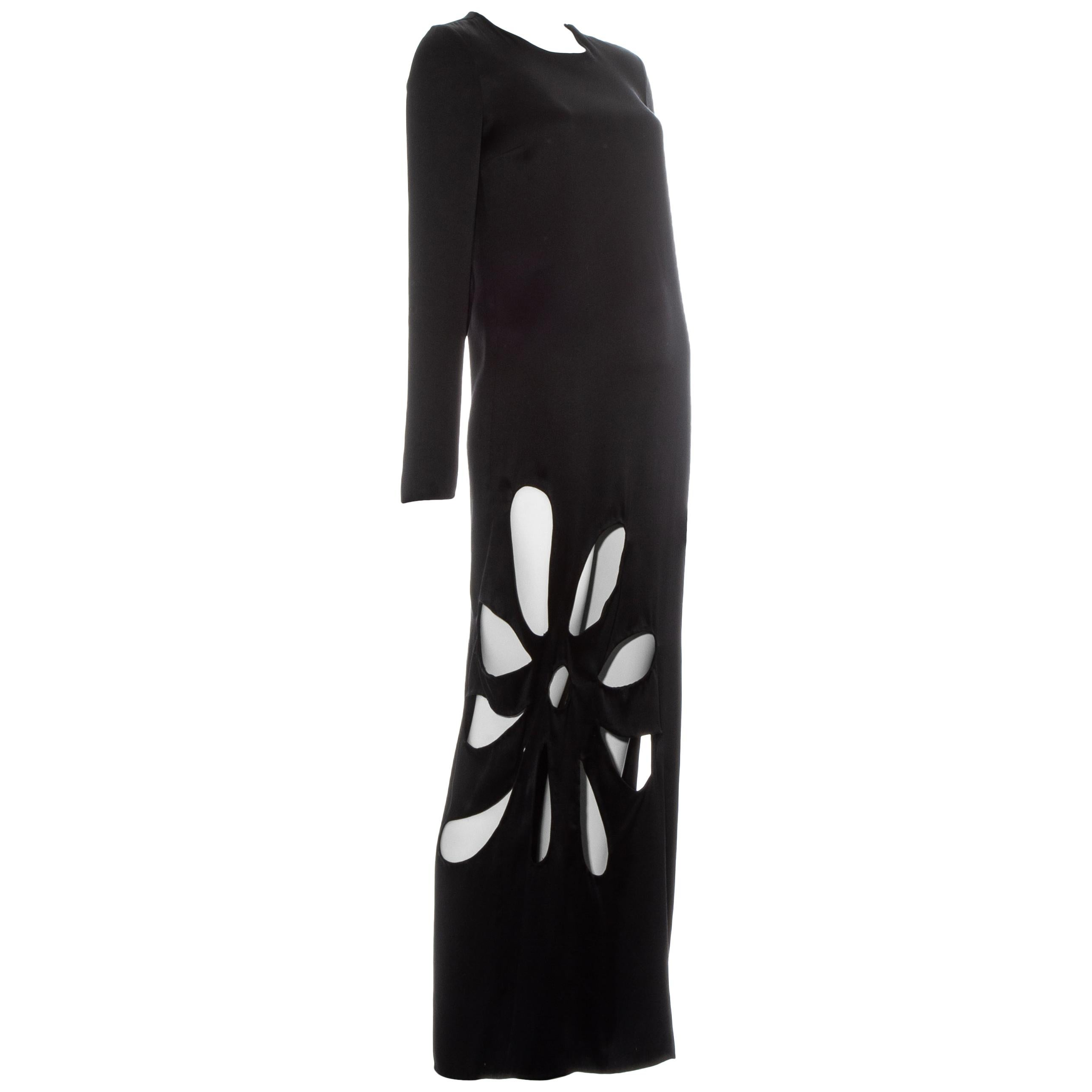 Gucci by Tom Ford black silk column dress with floral cut outs, ss 2002