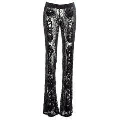 Gucci by Tom Ford black silk evening pants embellished with feathers, fw 2004