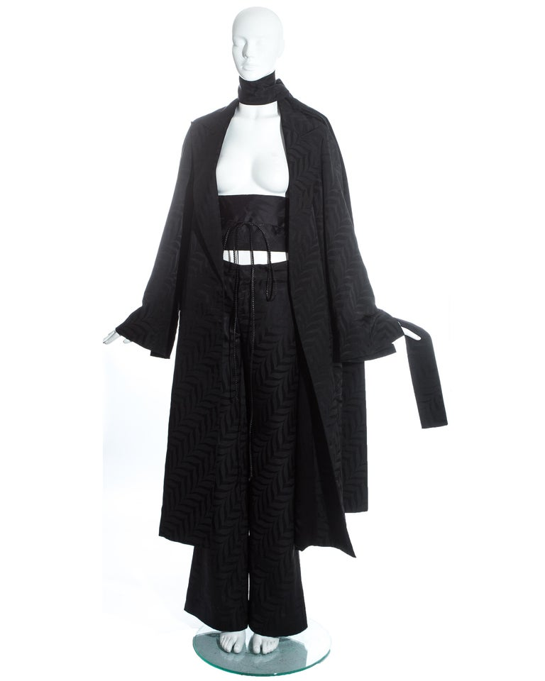 Black Gucci by Tom Ford black silk oversized pant suit with Obi belt, fw 2002  For Sale