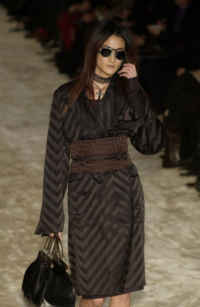 Women's Gucci by Tom Ford black silk oversized pant suit with Obi belt, fw 2002  For Sale
