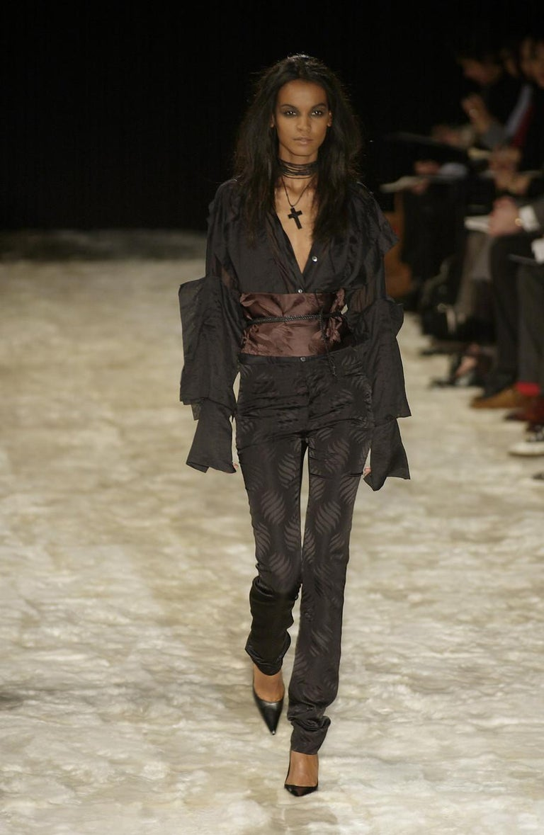 Gucci by Tom Ford black silk oversized pant suit with Obi belt, fw 2002  For Sale 1