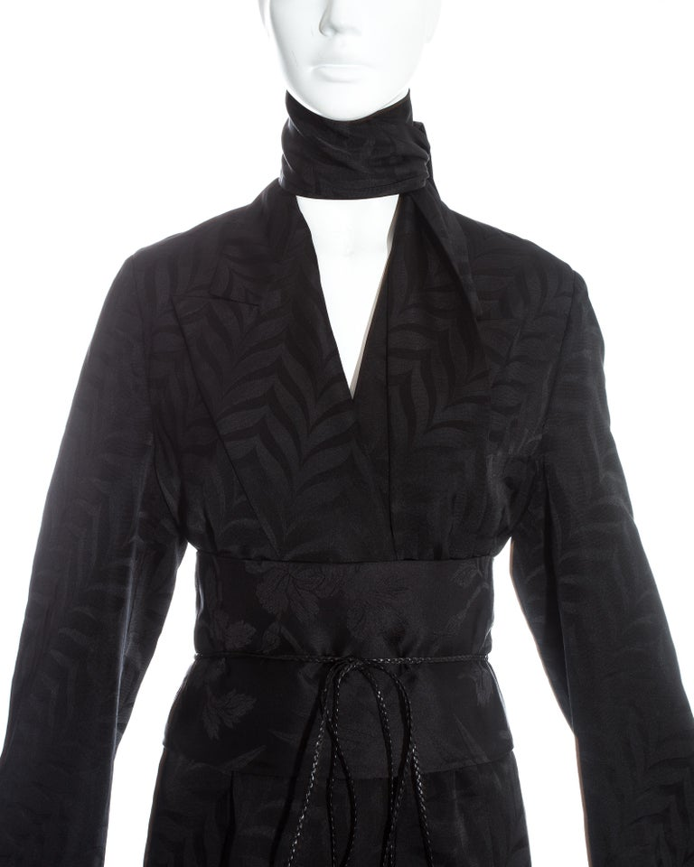 Gucci by Tom Ford black silk oversized pant suit with Obi belt, fw 2002  For Sale 2