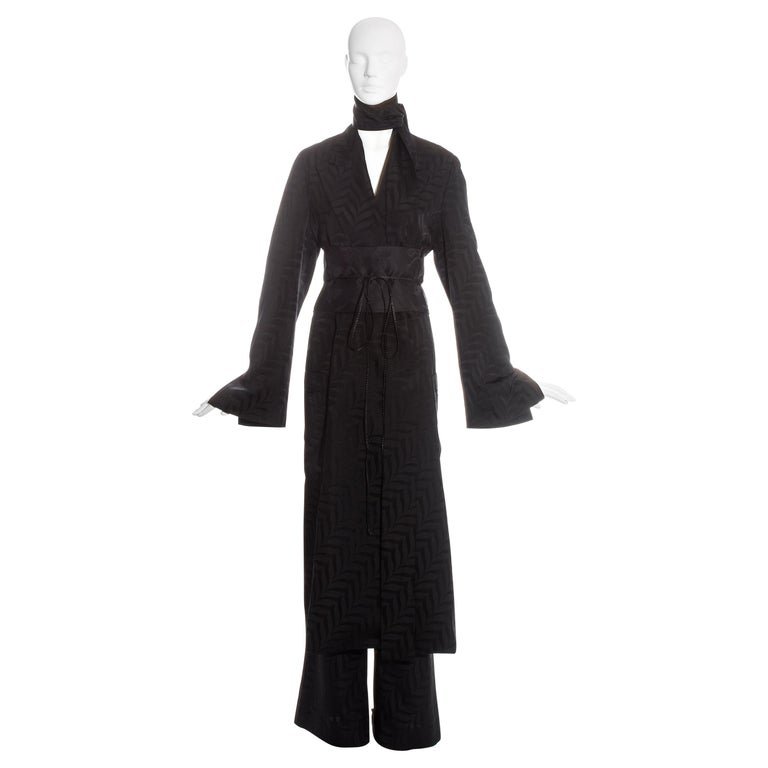 Gucci by Tom Ford black silk oversized pant suit with Obi belt, fw 2002  For Sale