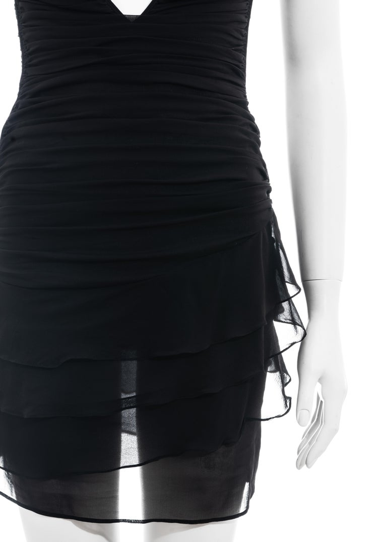 Black Gucci by Tom Ford black silk ruched mini dress, ss 2003 For Sale
