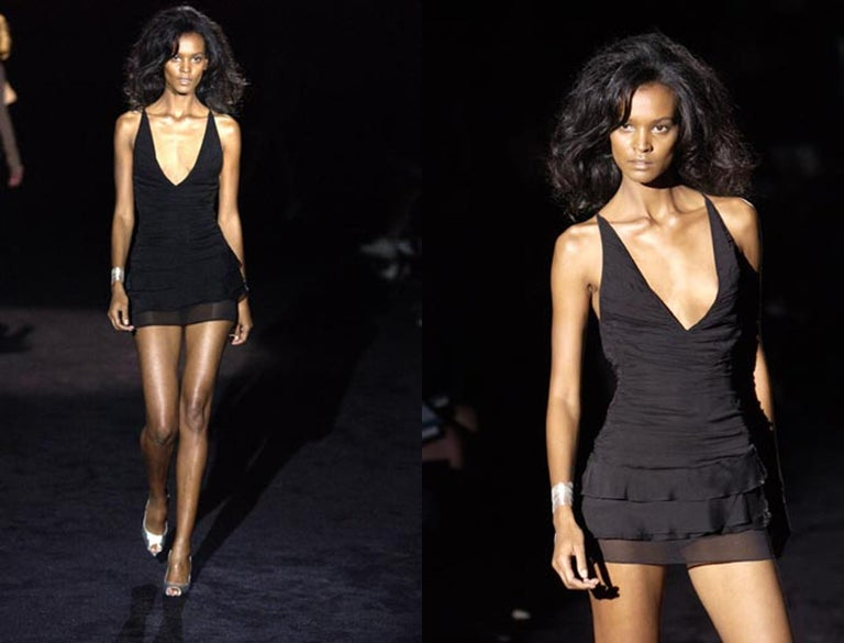 Women's Gucci by Tom Ford black silk ruched mini dress, ss 2003 For Sale