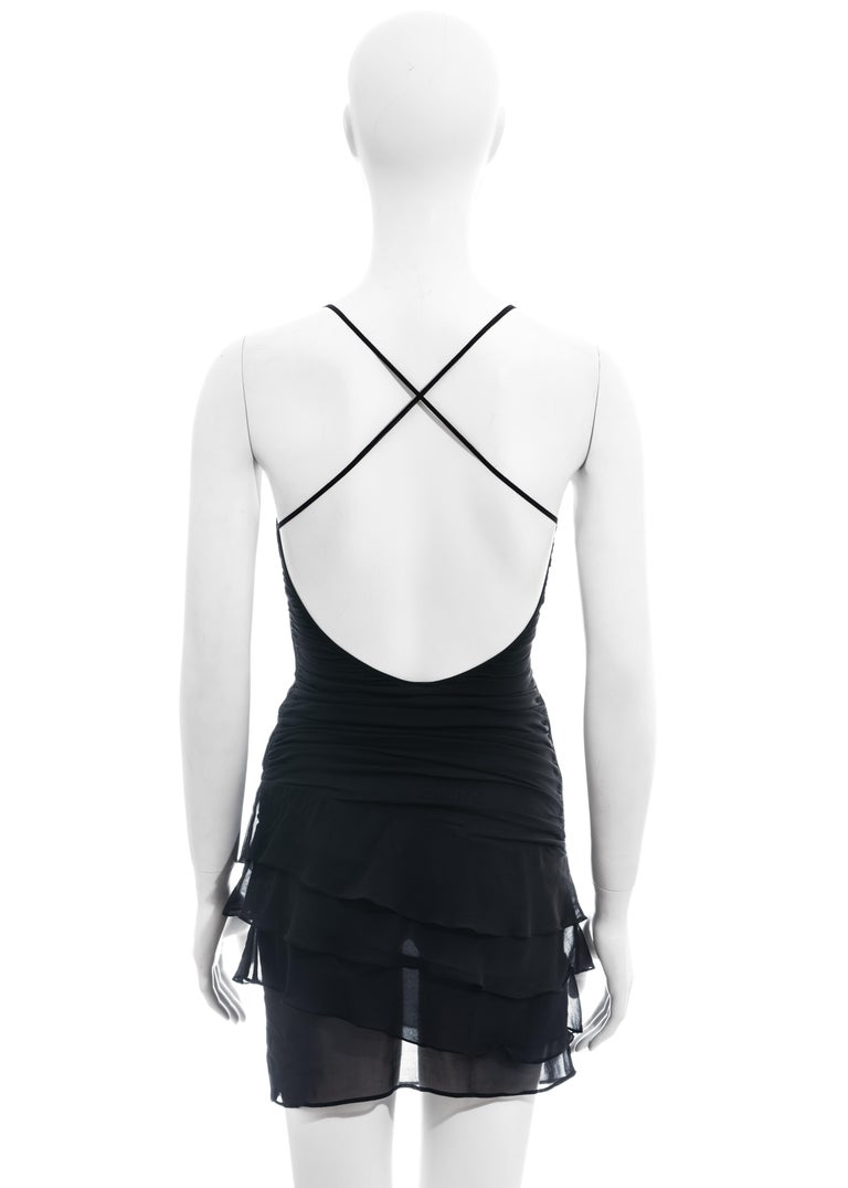 Gucci by Tom Ford black silk ruched mini dress, ss 2003 For Sale 4