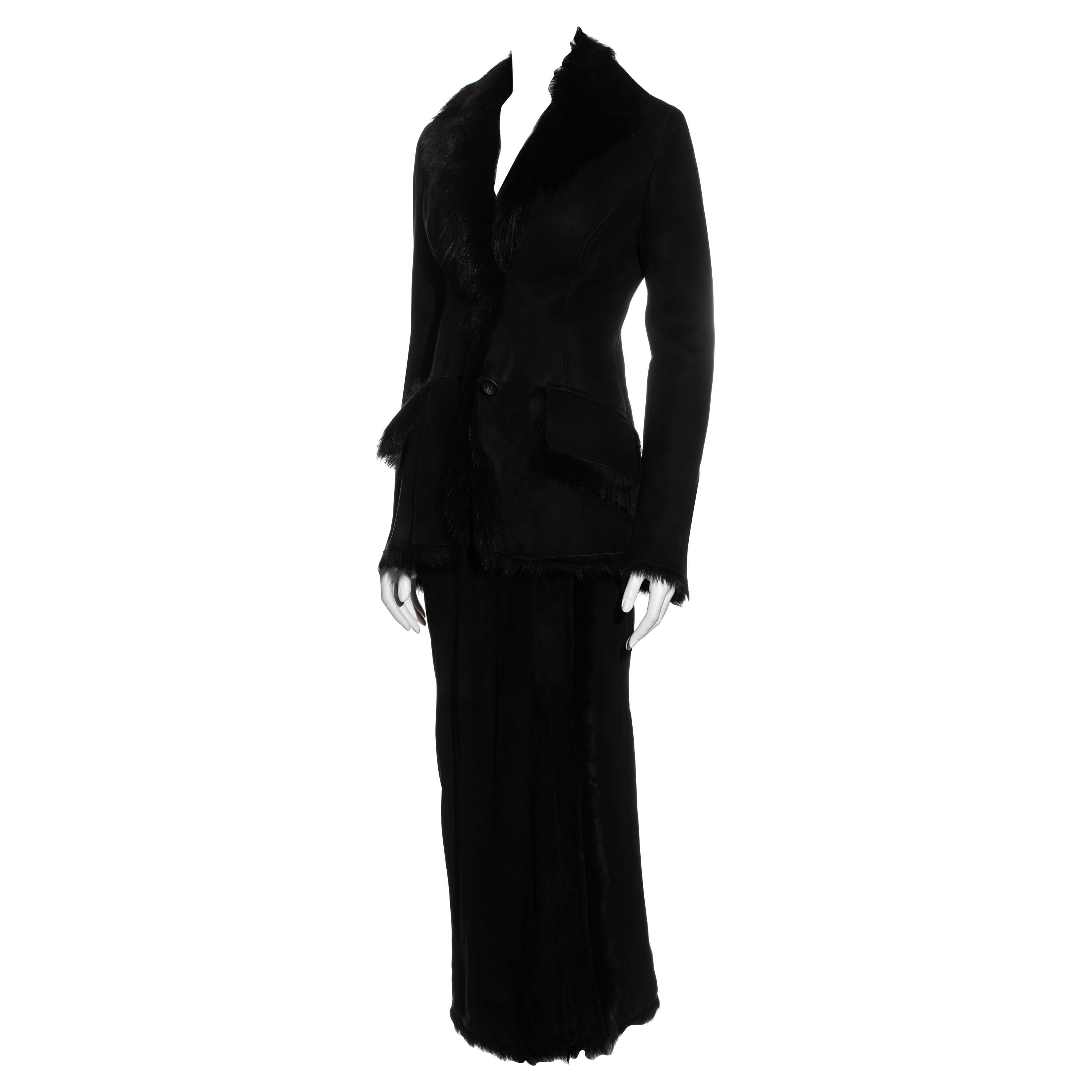 Gucci by Tom Ford black suede and fur jacket and maxi skirt set, fw 1996