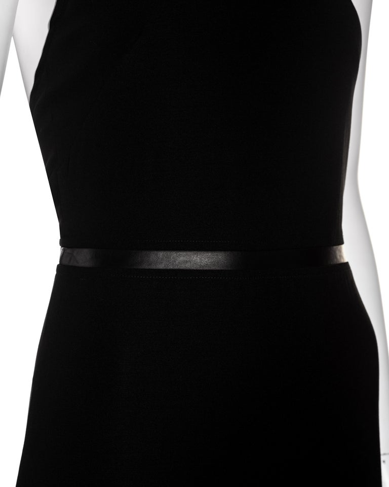 Gucci by Tom Ford black wool and leather halter neck evening dress, fw 2000 In New Condition For Sale In London, GB