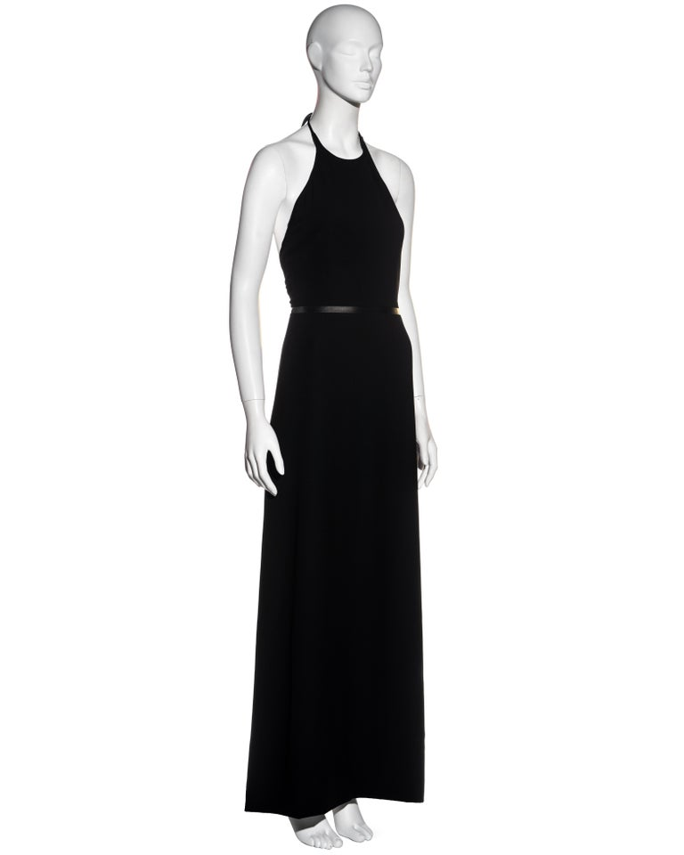 Women's Gucci by Tom Ford black wool and leather halter neck evening dress, fw 2000 For Sale