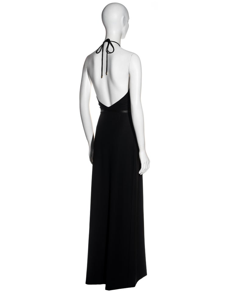 Gucci by Tom Ford black wool and leather halter neck evening dress, fw 2000 For Sale 1