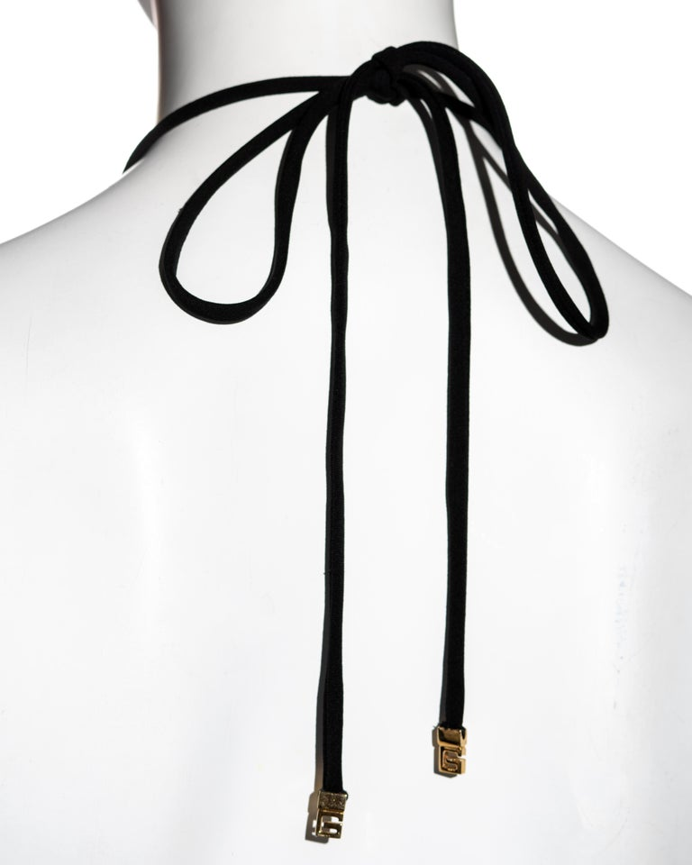 Gucci by Tom Ford black wool and leather halter neck evening dress, fw 2000 For Sale 2