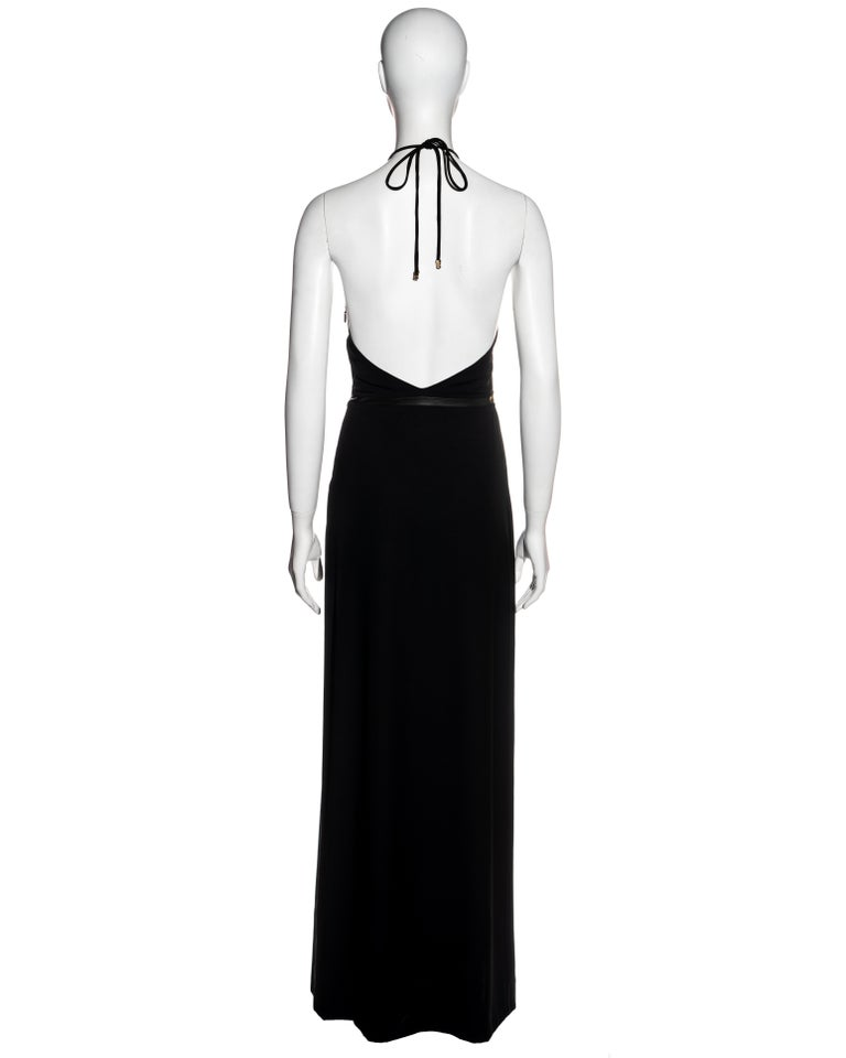 Gucci by Tom Ford black wool and leather halter neck evening dress, fw 2000 For Sale 3