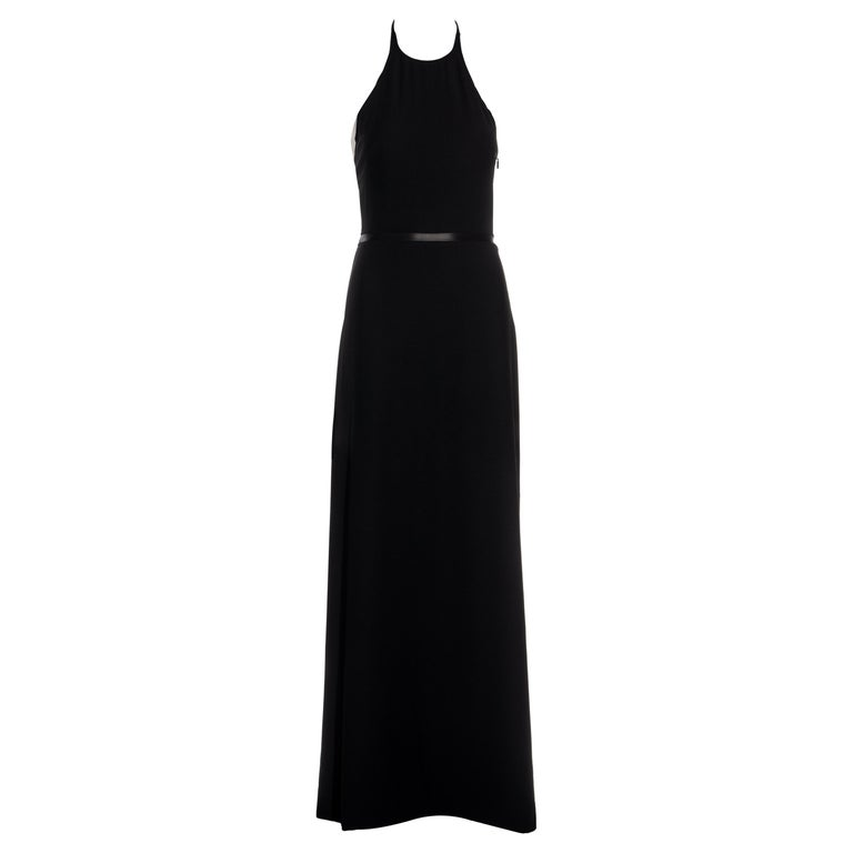 Gucci by Tom Ford black wool and leather halter neck evening dress, fw 2000 For Sale