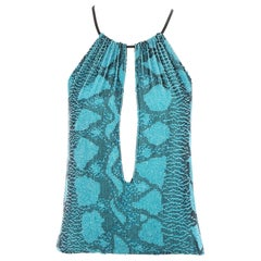 Gucci by Tom Ford blue beaded snake print evening top, ss 2000