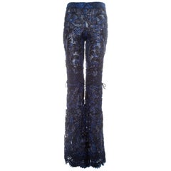 Gucci by Tom Ford blue embroidered lace and lame flared evening pants, fw 1999
