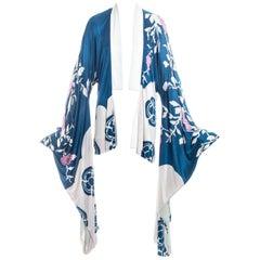 Gucci by Tom Ford blue silk oriental floral printed kimono, ss 2003