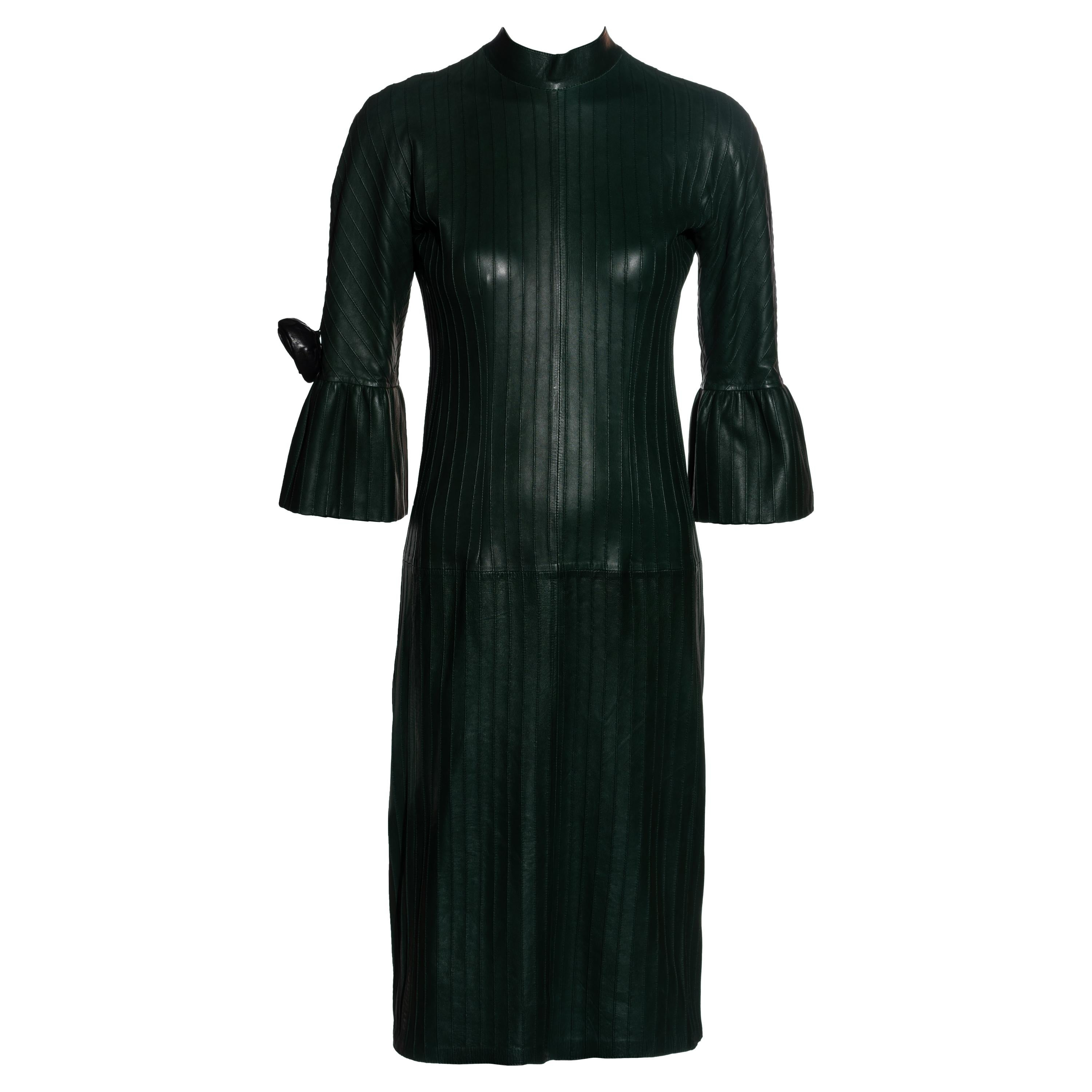 Gucci by Tom Ford bottle green pintuck leather shift dress, fw 1999