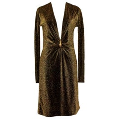 Gucci By Tom Ford Bronze Metallic Deep Plunging Evening Dress with Animal Head