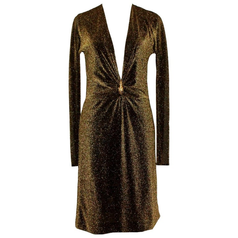 NEW Gucci By Tom Ford 2000 Metallic Deep Plunging Evening Dress  For Sale